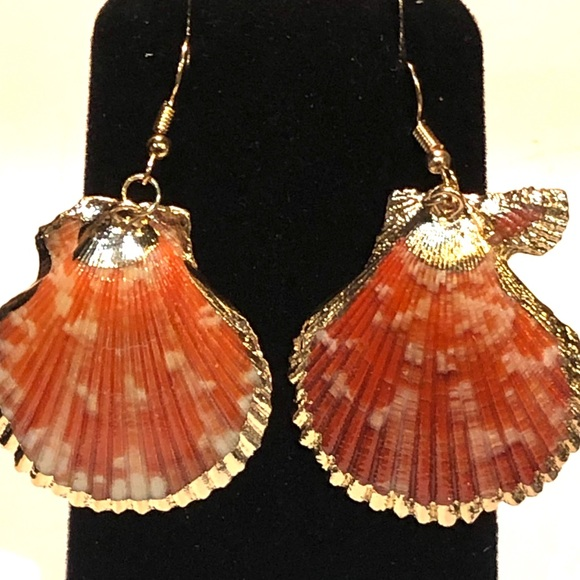 Genuine Orange Sea Shell Scallop Earrings